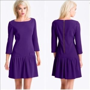 Eliza J Indigo Purple Pleated Drop Waist Dress